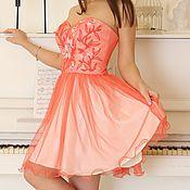 Коктейльное выпускное платье. Корсетное платье. Коралловое платье