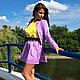 Костюм сиреневый юбка + пиджак+ блузка