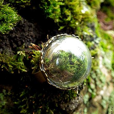 Украшения ручной работы. Ярмарка Мастеров - ручная работа Кольцо Микромир. Стеклянный шар с настоящим мхом. Handmade.