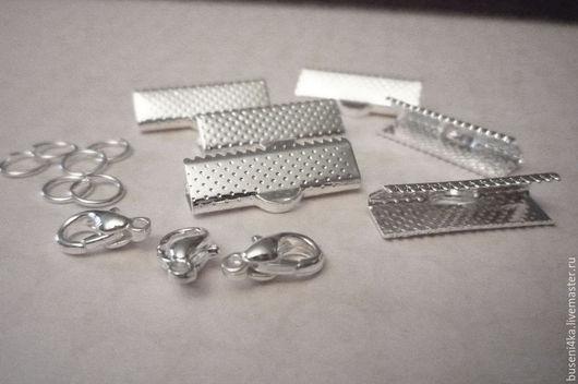 Для украшений ручной работы. Ярмарка Мастеров - ручная работа. Купить Концевики для ленты 2см с карабином, серебро (2шт). Handmade.