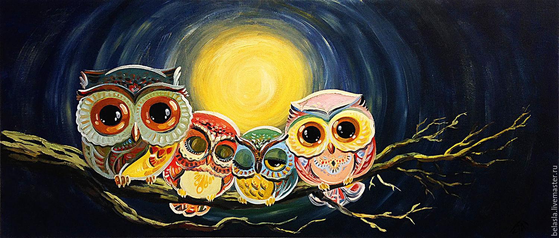 Animal Painting handmade. Livemaster - handmade. Buy Owlets, oil painting.Gift, blue, family, owls
