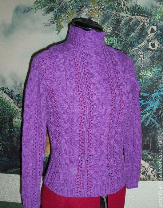 фото свитер женский с ажурныыми косами
