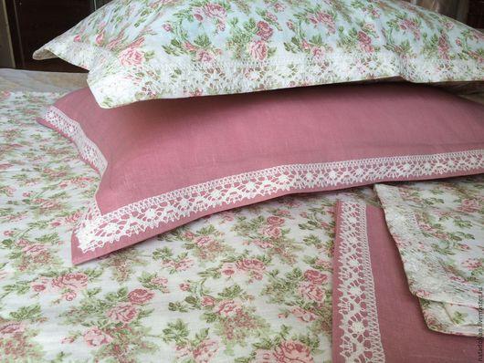 """Текстиль, ковры ручной работы. Ярмарка Мастеров - ручная работа. Купить Наволочки льняные """" Нежный лен"""" с льняным кружевом. Handmade."""