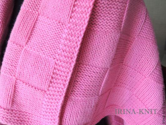 плед вязаный детский розовый плед купить