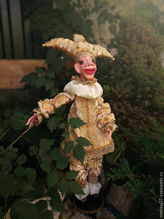 Коллекционные куклы ручной работы. Ярмарка Мастеров - ручная работа. Купить Арлекин венецианский карнавал. Handmade. Золотой, la doll