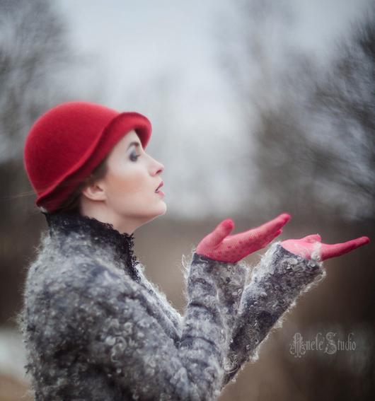 Шляпы ручной работы. Ярмарка Мастеров - ручная работа. Купить Шляпка № 12 Красный Клош. Handmade. Однотонный, перышки