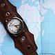 """Часы ручной работы. Ярмарка Мастеров - ручная работа. Купить Часы наручные JK """"Путешествия"""". Handmade. Коричневый, планета"""