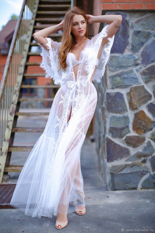 da6214b0a17 Underwear   Pajamas handmade. Livemaster - handmade. Buy Long Tulle Bridal  Robe with Lace ...