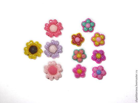 Другие виды рукоделия ручной работы. Ярмарка Мастеров - ручная работа. Купить Кабошоны цветочки акриловые. Handmade. Разноцветный