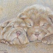 """Картины и панно ручной работы. Ярмарка Мастеров - ручная работа Картина """"Милейшие носики"""",картина собака,щенок,шарпей,порода шарпей. Handmade."""