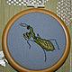 Животные ручной работы. Ярмарка Мастеров - ручная работа. Купить Миниатюрная картина Богомол. Handmade. Ярко-зелёный, вышивка, насекомые
