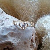 Винтаж handmade. Livemaster - original item Golden ring with diamond. Handmade.
