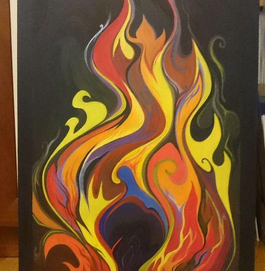Абстракция ручной работы. Ярмарка Мастеров - ручная работа. Купить Пламя. Handmade. Пламя, свет, тепло, декор для интерьера, абстракция
