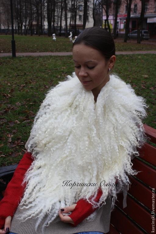 Шарфы и шарфики ручной работы. Ярмарка Мастеров - ручная работа. Купить Меховой воротник из белых кудрей. Эко-мех.. Handmade.
