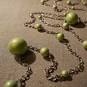 "Винтаж ручной работы. Ярмарка Мастеров - ручная работа Колье ""Сотуар Лайм"" зеленое, винтаж. Handmade."
