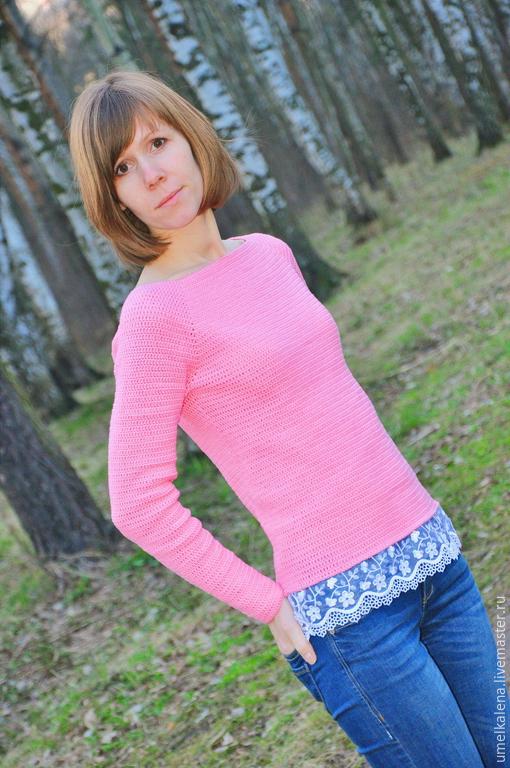 Кофты и свитера ручной работы. Ярмарка Мастеров - ручная работа. Купить Розовый свитер вязаный с кружевом. Handmade. Розовый, хлопок