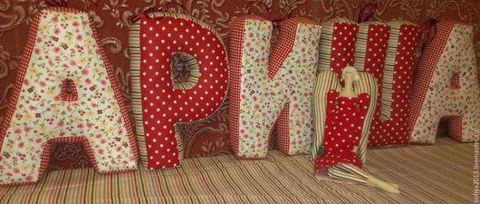 Детская ручной работы. Ярмарка Мастеров - ручная работа. Купить Буквы подушки. Handmade. Ярко-красный, горошек, клетка