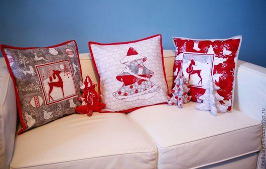 Текстиль, ковры ручной работы. Ярмарка Мастеров - ручная работа. Купить Новогодний набор. Handmade. Красный, диванная подушка, Север