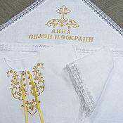 Работы для детей, handmade. Livemaster - original item Baptismal linen set with embroidery. art.001. Handmade.
