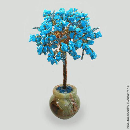 Дерево любви и верности из бирюзы в вазочке из оникса