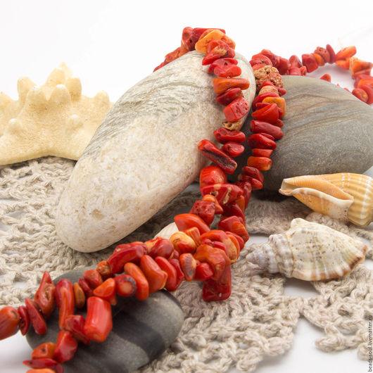 Для украшений ручной работы. Ярмарка Мастеров - ручная работа. Купить Коралл натуральный крошка оранжево-красный, 10г - арт.2-18. Handmade.