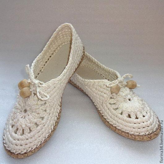 Обувь ручной работы. Ярмарка Мастеров - ручная работа. Купить Мокасины  вязаные Lady G, лен, р.39, молочный. Handmade.