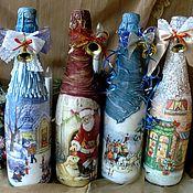 Подарки к праздникам ручной работы. Ярмарка Мастеров - ручная работа Новогоднее шампанское декор бутылок. Handmade.