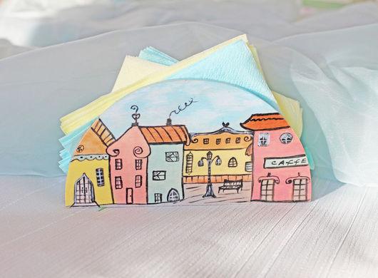 """Кухня ручной работы. Ярмарка Мастеров - ручная работа. Купить Салфетница """"Город Мечта"""". Handmade. Разноцветный, романтика, акриловые краски"""