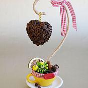 Цветы и флористика ручной работы. Ярмарка Мастеров - ручная работа мини-деревце сердечко на подвесе в желтой чашке. Handmade.