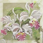 """Картины и панно ручной работы. Ярмарка Мастеров - ручная работа Картина на шелке трехслойная """"Орхидеи"""". Handmade."""