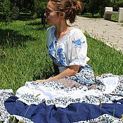 "Одежда handmade. Livemaster - original item Бохо-юбочка ""Пава""хлопок-шитье+шелк-хлопок, кружева. Handmade."
