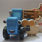 Техника, роботы, транспорт ручной работы. Ярмарка Мастеров - ручная работа Большой Синий трактор из мультика. Handmade.
