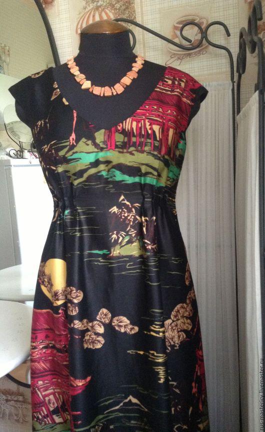 Платья ручной работы. Ярмарка Мастеров - ручная работа. Купить Платье из хлопка Полнолуние. Handmade. Комбинированный, оттенки зеленого, сатин