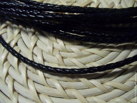 Для украшений ручной работы. Ярмарка Мастеров - ручная работа. Купить Черный плетеный кожаный шнур (3 мм) с серебряной застежкой 925 пробы. Handmade.
