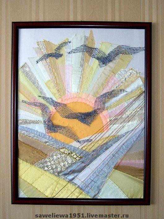 """Пейзаж ручной работы. Ярмарка Мастеров - ручная работа. Купить Триптих """"Вечные старинники"""". Handmade. Квилт, бежево-оранжевый, трикотаж"""