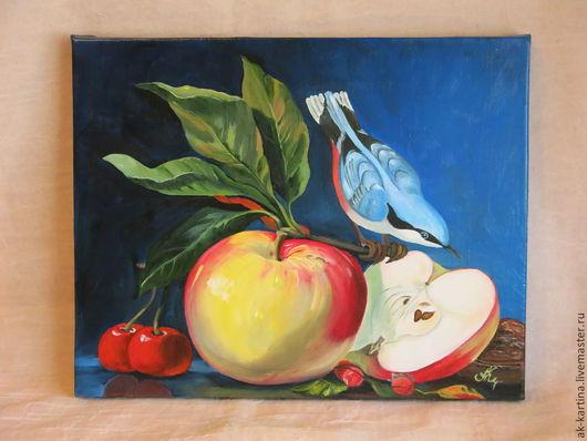 """Натюрморт ручной работы. Ярмарка Мастеров - ручная работа. Купить """"Яблоко на ветке""""  Масло. Холст на подрамнике. Handmade. Разноцветный, картина"""