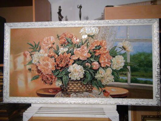 Пейзаж ручной работы. Ярмарка Мастеров - ручная работа. Купить Картина гобелен Пионы с люриксом 130х70 см. Handmade.