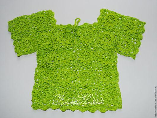Одежда для девочек, ручной работы. Ярмарка Мастеров - ручная работа. Купить Топ для девочки. Handmade. Ярко-зелёный, вязание для детей