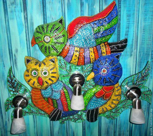 """Освещение ручной работы. Ярмарка Мастеров - ручная работа. Купить Светильник """"В троем """".. Handmade. Сова, разноцветный, цветной"""