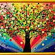 Фантазийные сюжеты ручной работы. Ярмарка Мастеров - ручная работа. Купить Радужное дерево Картина на оргалите. Handmade. Радуга