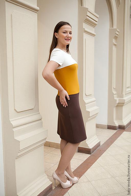 Платья ручной работы. Ярмарка Мастеров - ручная работа. Купить Трехцветное платье -  белый, желтый, коричневый. Handmade. Однотонный