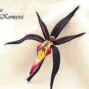 Украшения handmade. Livemaster - original item Silk flowers. Orchid velvet