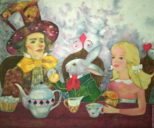 """Фантазийные сюжеты ручной работы. Ярмарка Мастеров - ручная работа. Купить Картина  """"Безумное чаепитие"""", батик. Handmade. Батик"""