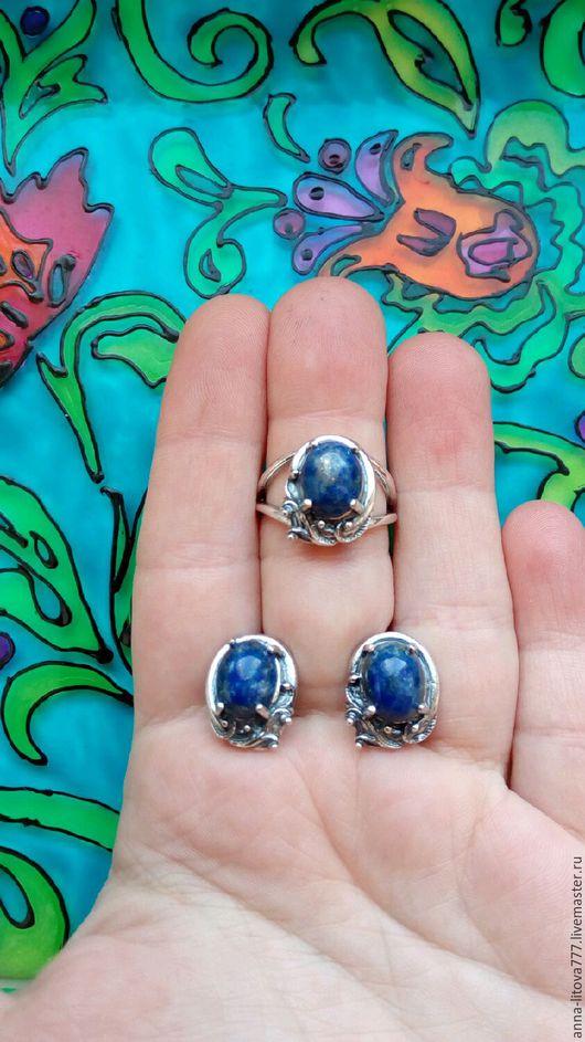 Комплекты украшений ручной работы. Ярмарка Мастеров - ручная работа. Купить 193 Комплект серебрение серьги и кольцо с камнями. Handmade.