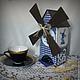"""Кухня ручной работы. Ярмарка Мастеров - ручная работа. Купить Деревянный чайный домик """"Голландский"""". Handmade. Тёмно-синий"""