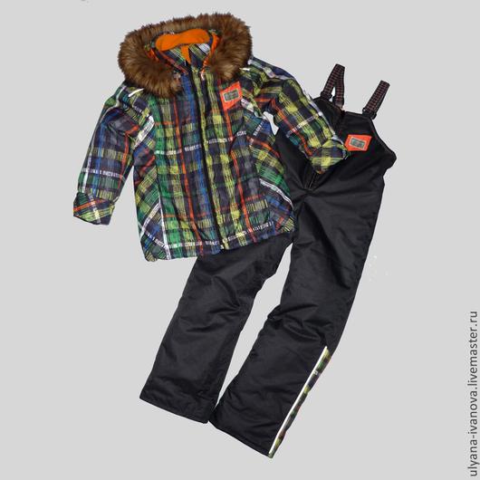 Одежда для мальчиков, ручной работы. Ярмарка Мастеров - ручная работа. Купить Комплект мембранный с подстежками Зимние клетки. Handmade. Рыжий