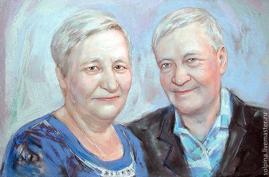 Персональные подарки ручной работы. Ярмарка Мастеров - ручная работа. Купить Портрет родителей или близких. Handmade. Голубой