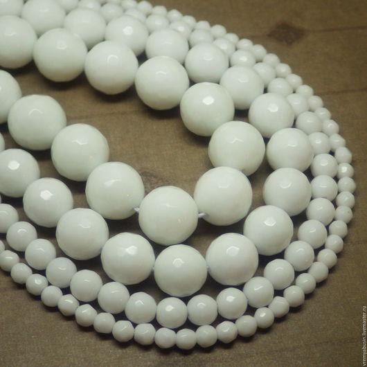 Для украшений ручной работы. Ярмарка Мастеров - ручная работа. Купить 5447. Агат белый граненый шар. РАЗНЫЕ РАЗМЕРЫ. Handmade.