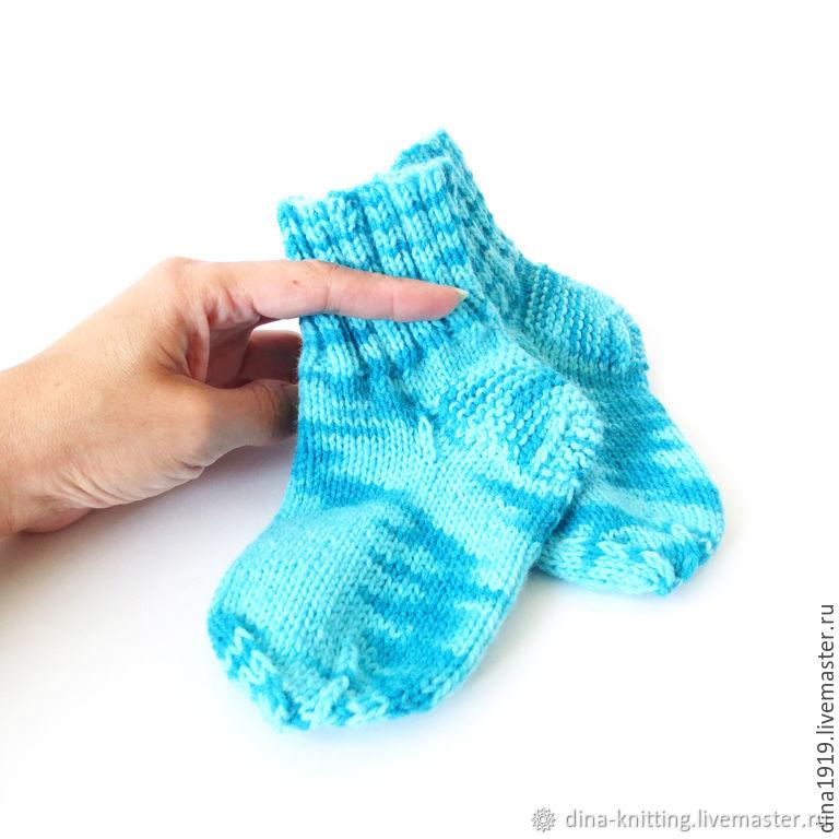 Socks children knitted warm socks, blue, turquoise, Babys bootees, Cheboksary,  Фото №1