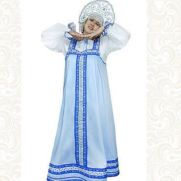 """Русский стиль ручной работы. Ярмарка Мастеров - ручная работа Сарафан с блузой """"Голубые мотивы"""", хлопок. Handmade."""